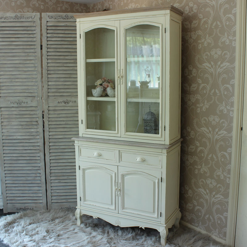 Country Ash Range - Cream Display Cupboard with Drawers