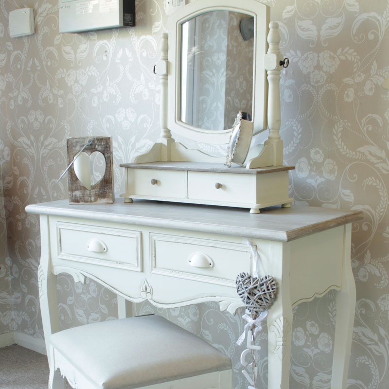 Country ash range cream dressing table swing mirror and stool set melody maison - Stool for vanity table ...