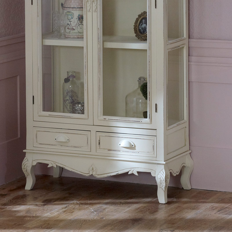 Country Ash Range - Cream Glass Display Cabinet with Drawers