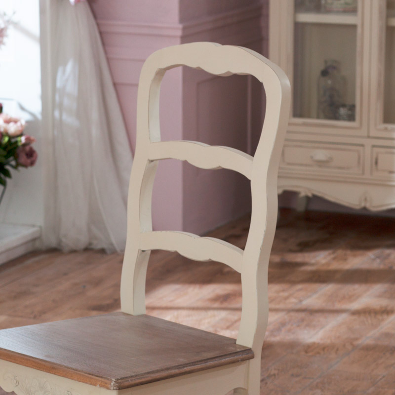 cream wood dining chair shabby vintage chic ornate dining room kitchen