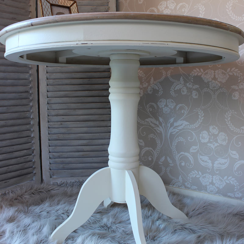 large round cream wood dining table shabby french chic kitchen dining