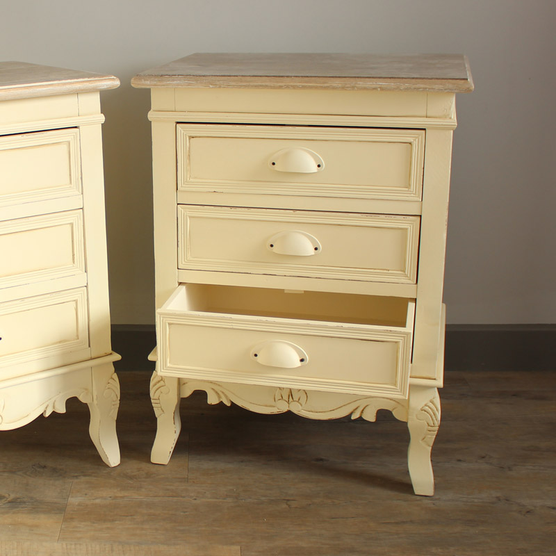 Pair 2 Cream Bedroom Bedside Table Chest Drawers Furniture Shabby Style Chic