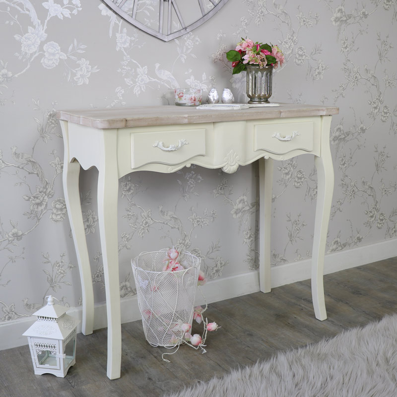 Cream wooden console dressing table 2 drawers shabby for Range dressing table