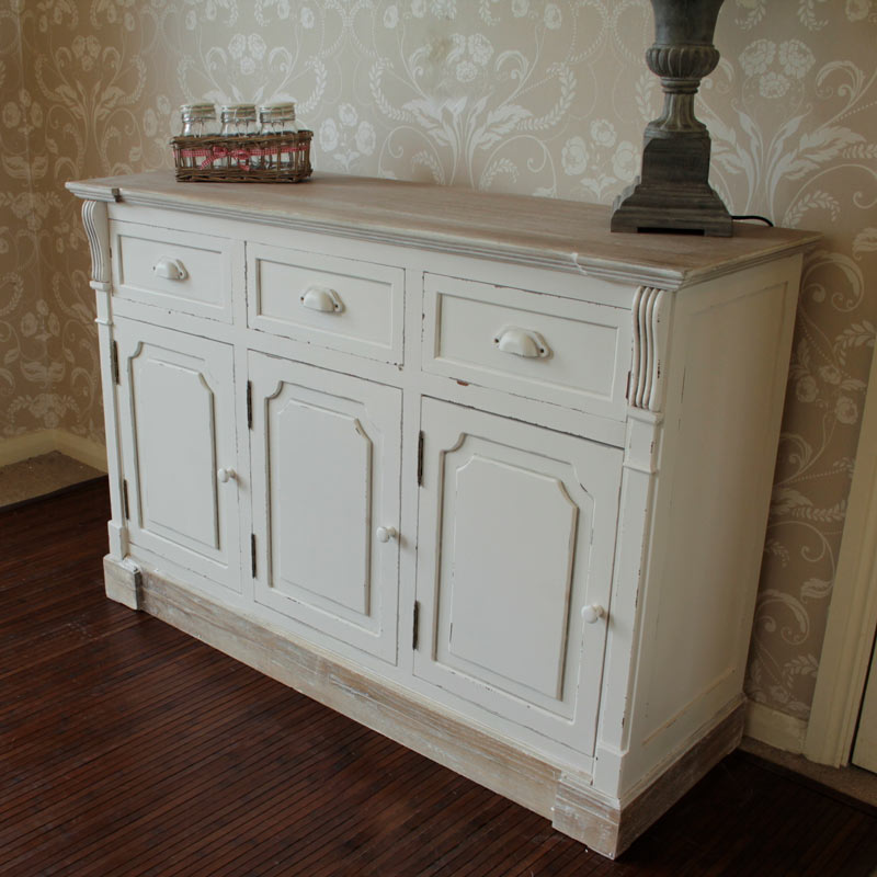 Cream 3 Drawer and 3 Cupboard Hall or Buffet Unit - Lyon Range