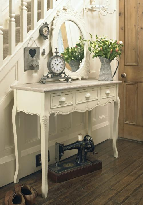 Cream wooden console hallway table with drawers country for Cream hall table