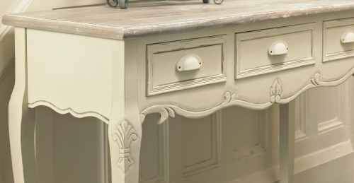 Cream Hall Table cream wooden console hallway table with drawers - country ash