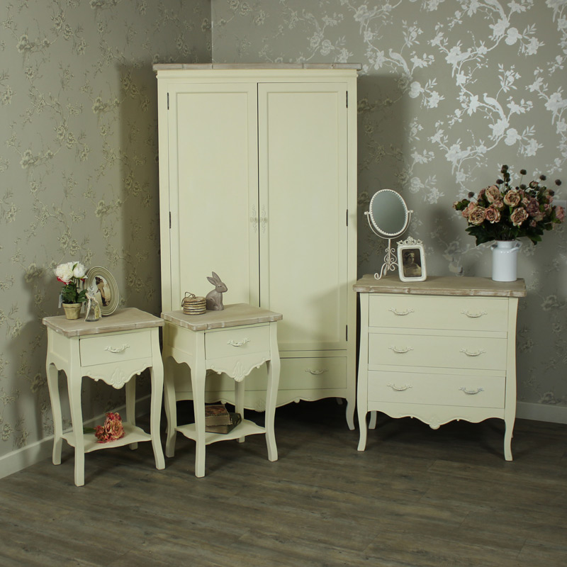 cream bedroom furniture chest of drawers double wardrobe set bedside