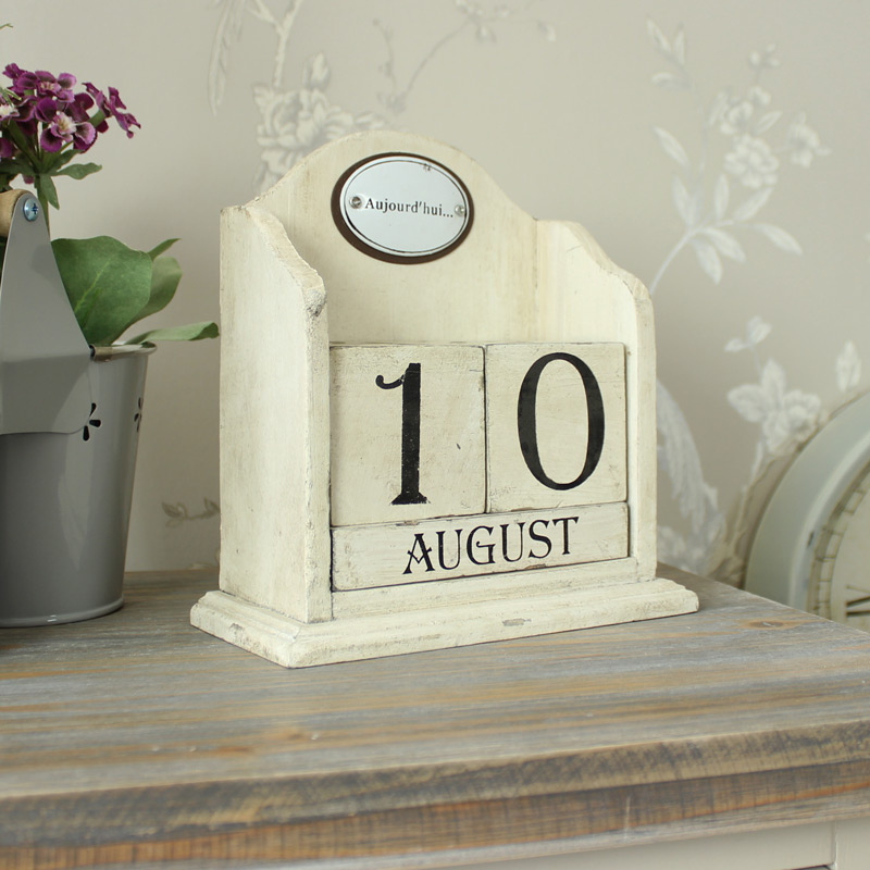 Cream Distressed Wooden Perpetual Block Calendar - Melody Maison®