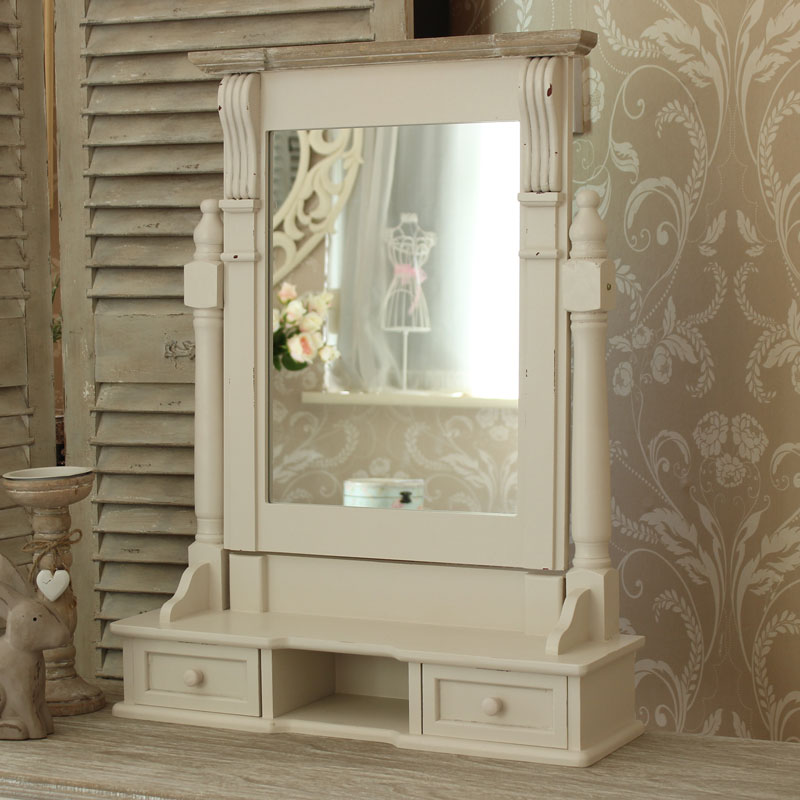 Cream Dressing Table, Mirror and Stool Set - Lyon Range