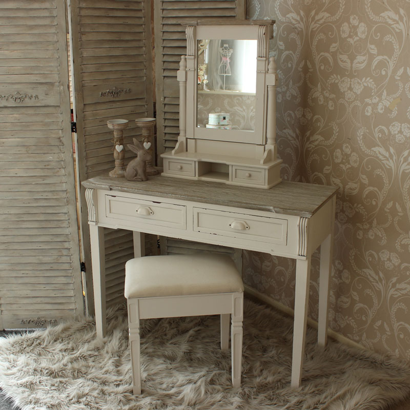 Lyon Range Cream Dressing Table Mirror And Stool Set