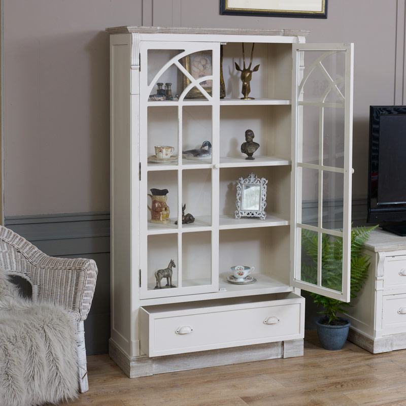 Cream Glazed Display Cabinet - Lyon Range