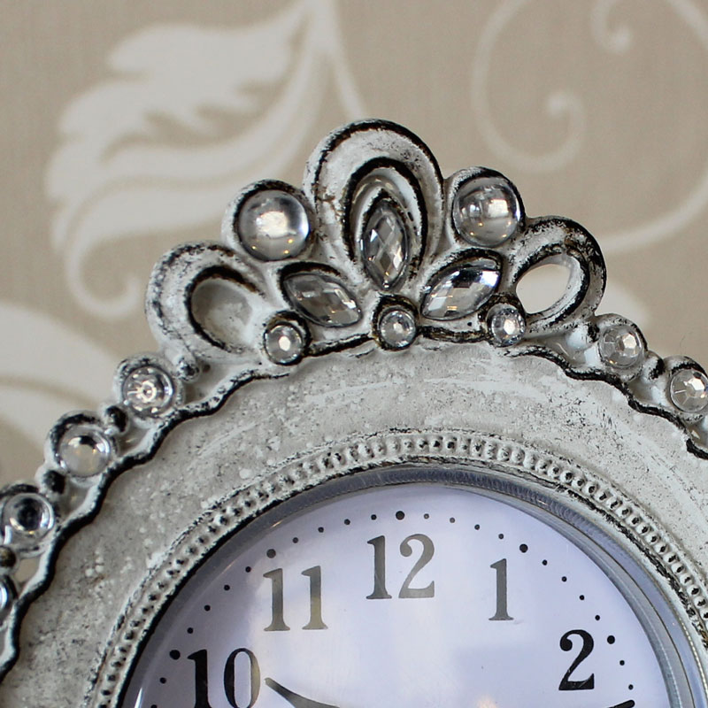 Cream Metal Diamante Table Clock