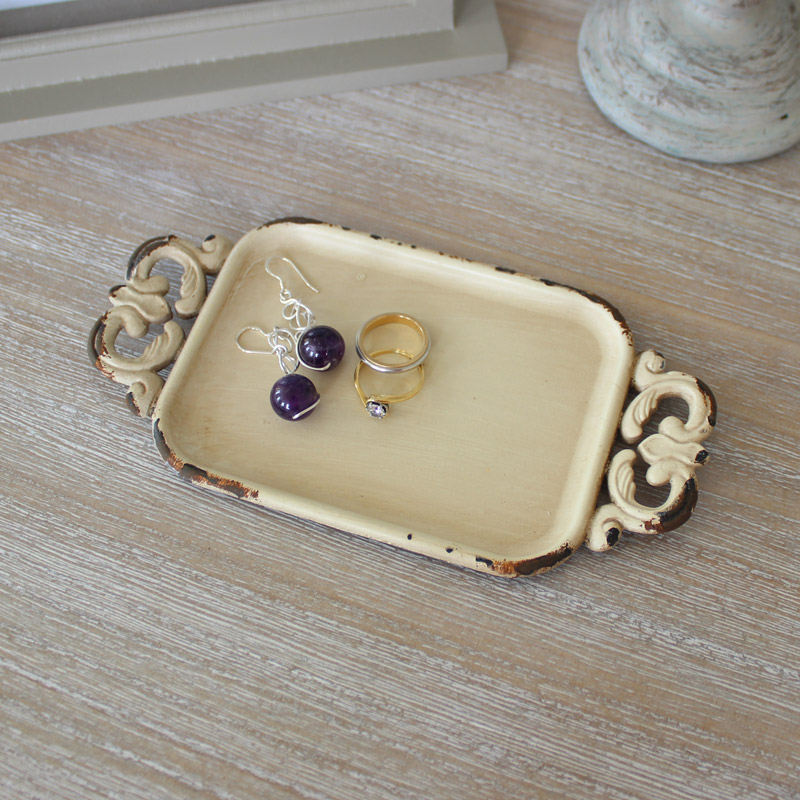 Cream Metal Jewellery Tray
