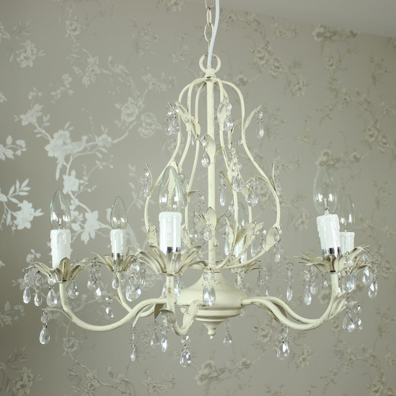 Cream Ornate 6 Lamp Chandelier with Droppers