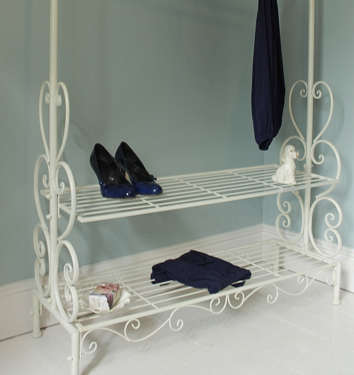 cream ornate clothes rail metal shabby