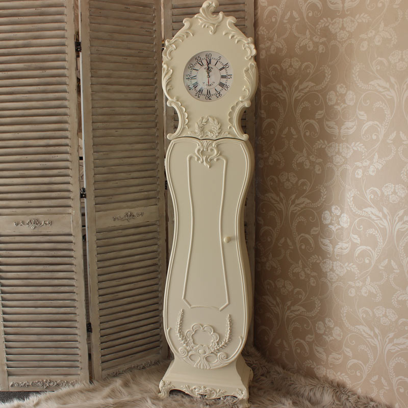 Cream Ornate Grandmother Clock