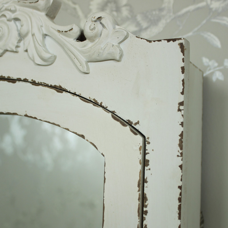 Cream Ornate Mirrored Wall Cabinet