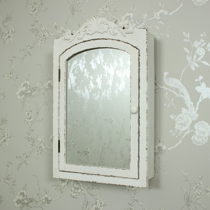 Cream Ornate Mirrored Wall Cabinet Melody Maison