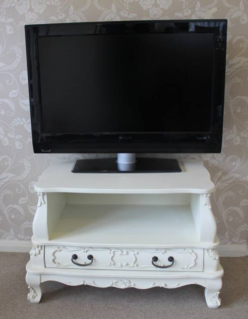 Cream ornate TV cabinet