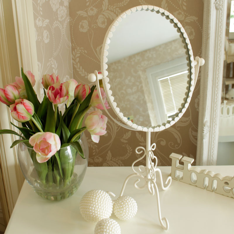 Cream Oval Scroll Vanity Mirror