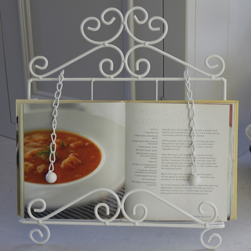 metal white recipe stand