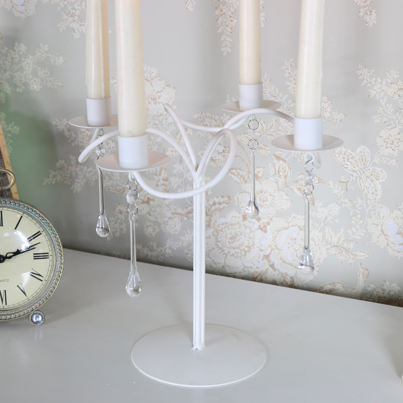 Cream Swirl Candelabra with Droppers