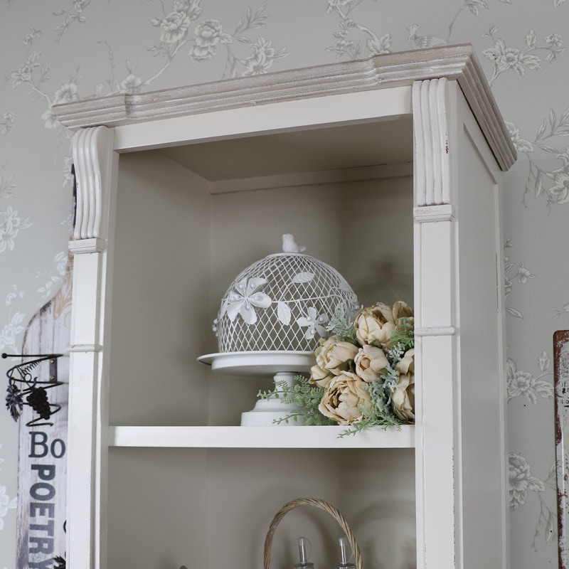 Cream Tall Display Unit with cupboard and shelves - Lyon Range