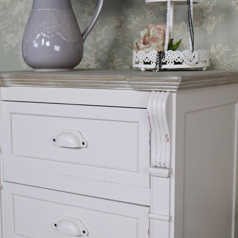 Cream Three Drawer Bedside Chest - Lyon Range