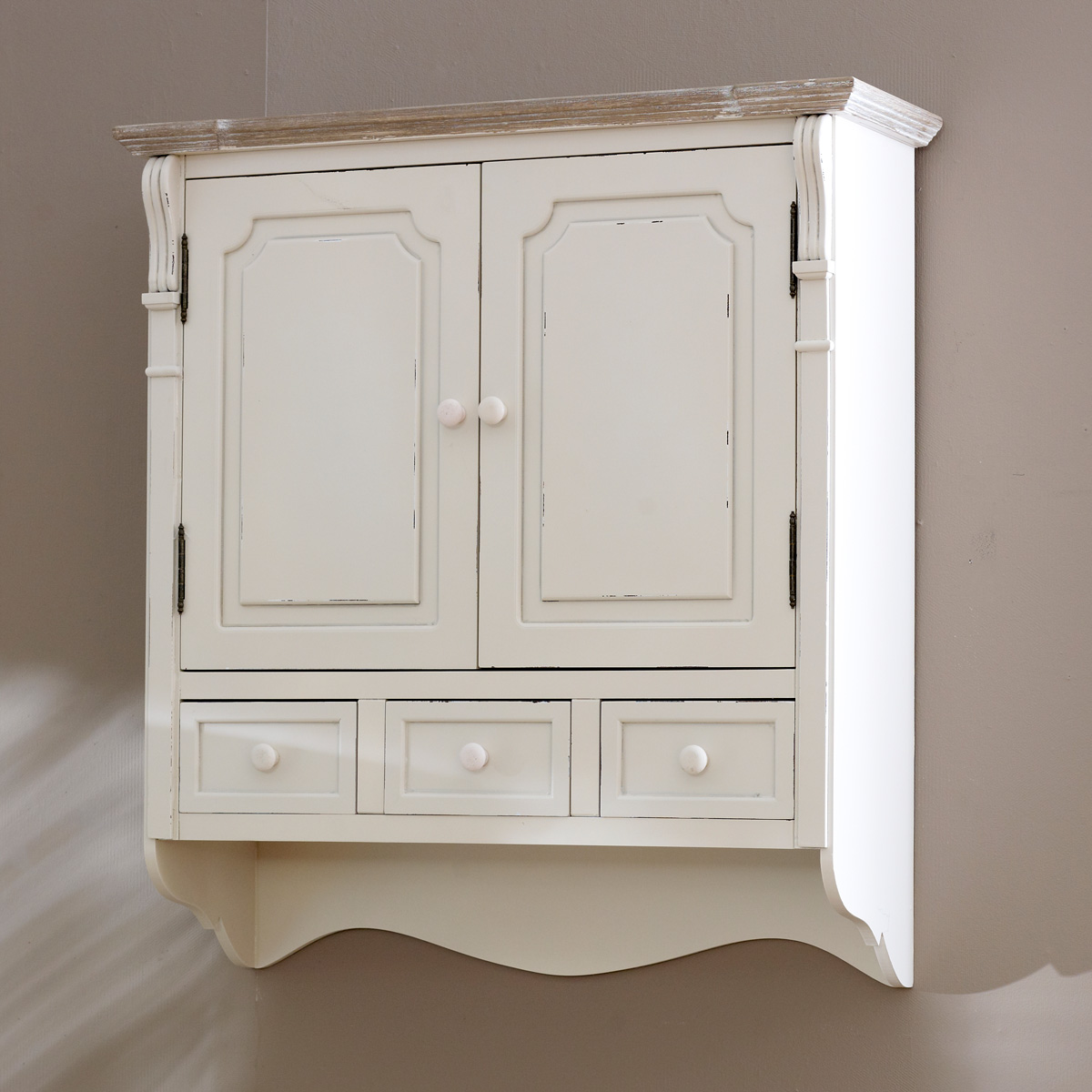 Country cream style vintage wall cabinet cupboard storage for What kind of paint to use on kitchen cabinets for what is mounted wall art