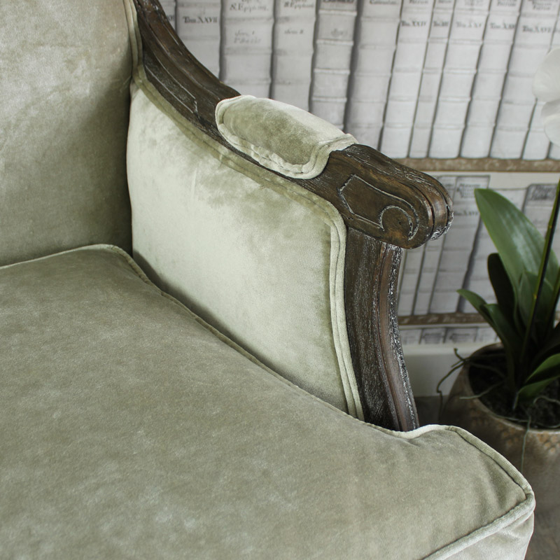 Crushed Velvet Armchair - in Silver Grey