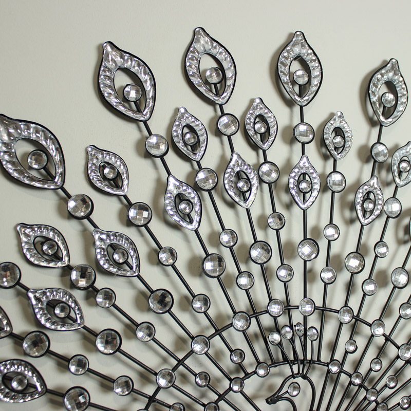 Wall Decor With Crystals : Crystal metal wire peacock wall art plaque design black