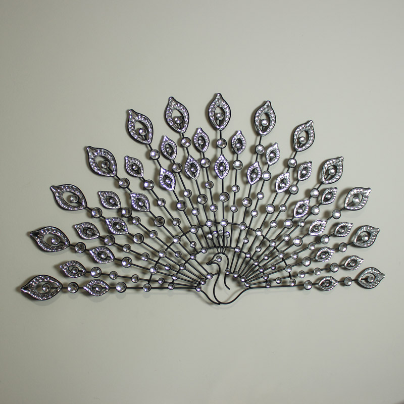 Wall Decor With Crystal : Crystal metal wire peacock wall art plaque design black