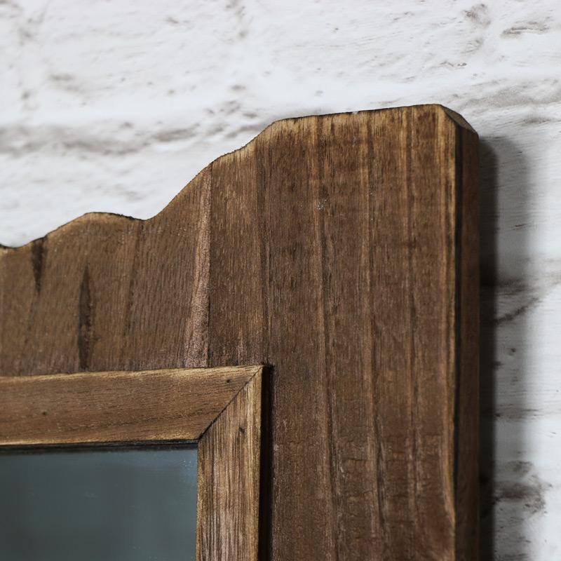 Dark Driftwood Style Wall Mirror 40cm x 34cm