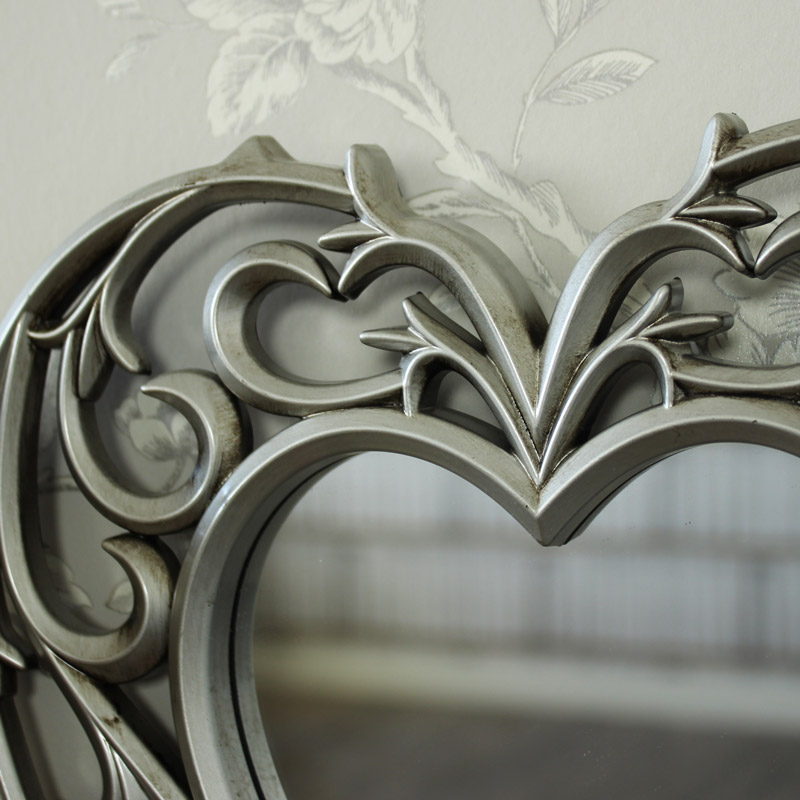 Decorative Silver Filigree Heart Shaped Wall Mounted
