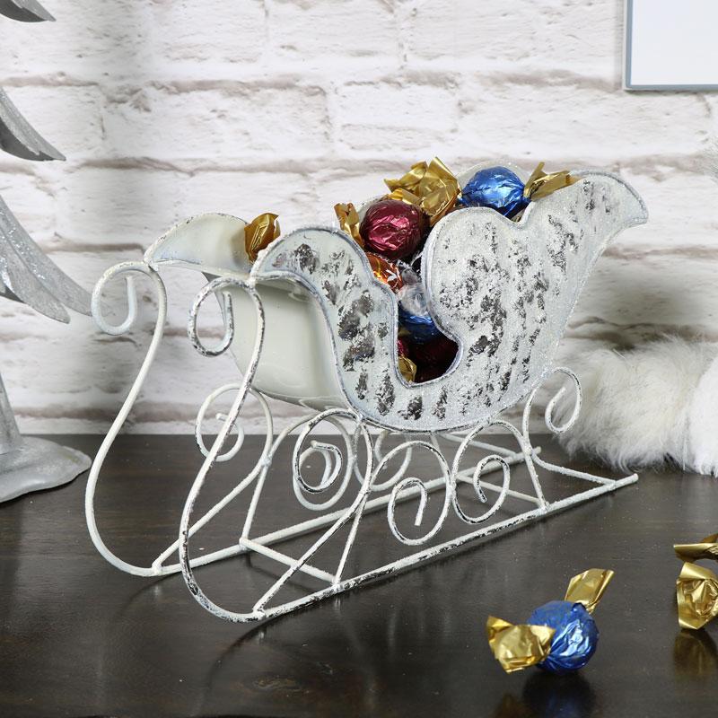 Decorative White Metal Sleigh