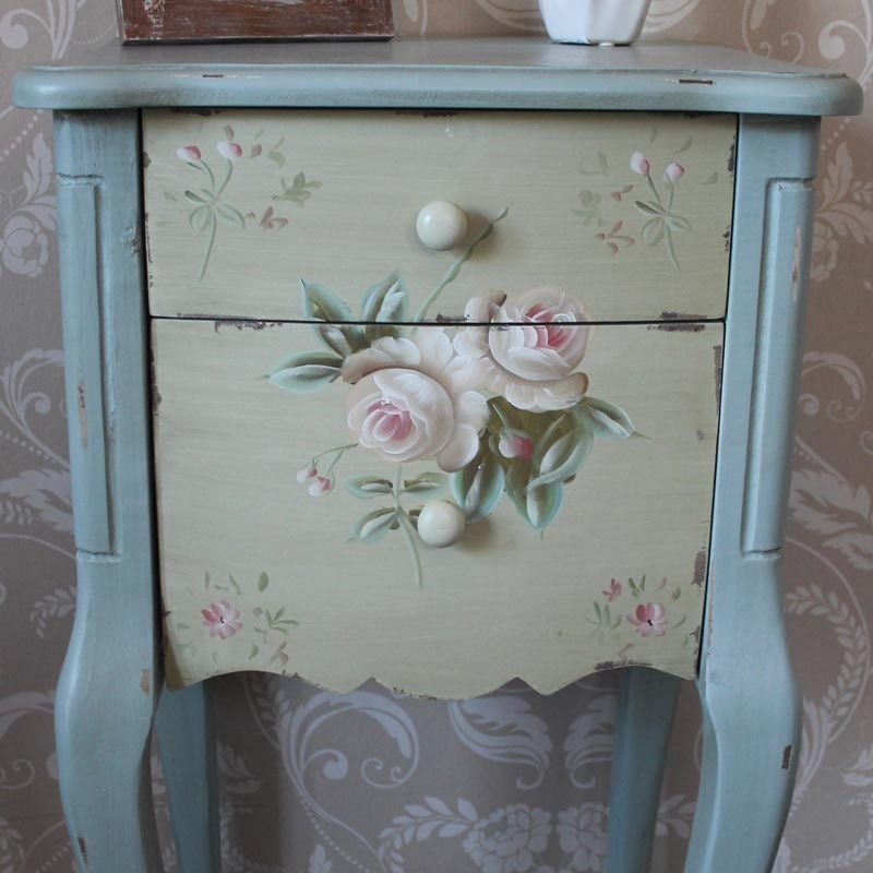 From Midnight To Duck Egg See: Duck Egg Blue Bedside Table With Rose Detail