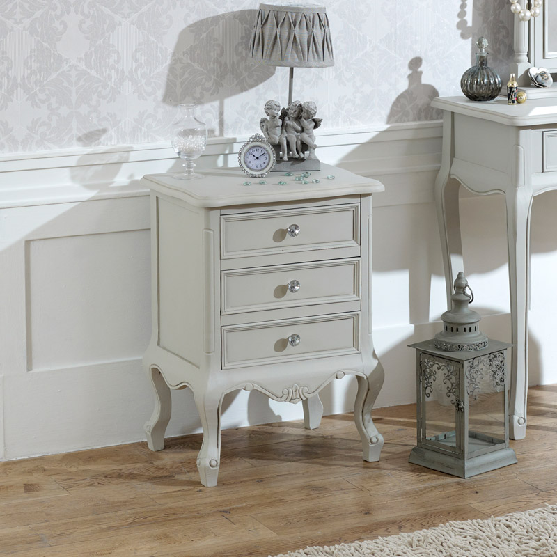 Elise Grey Range - 3 Drawer Bedside Table