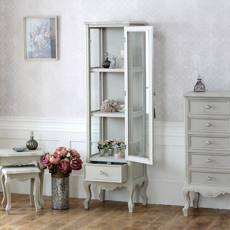 Grey Wooden Ornate Glazed Display Cabinet Shabby French Chic Bedroom Furniture Ebay