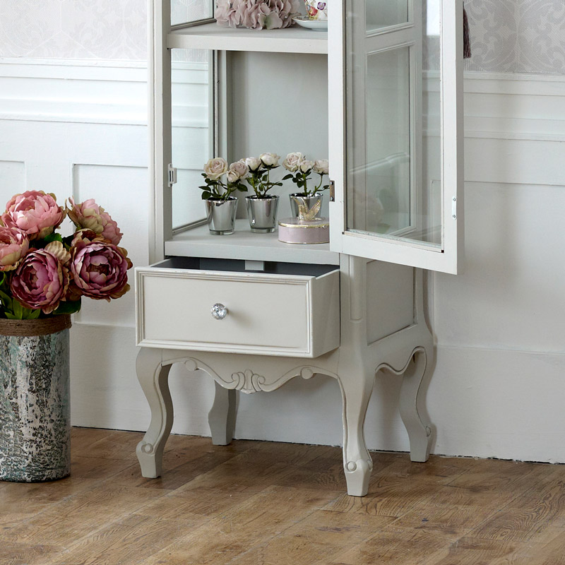 Grey wooden ornate glazed display cabinet shabby french - Ornate bedroom furniture ...