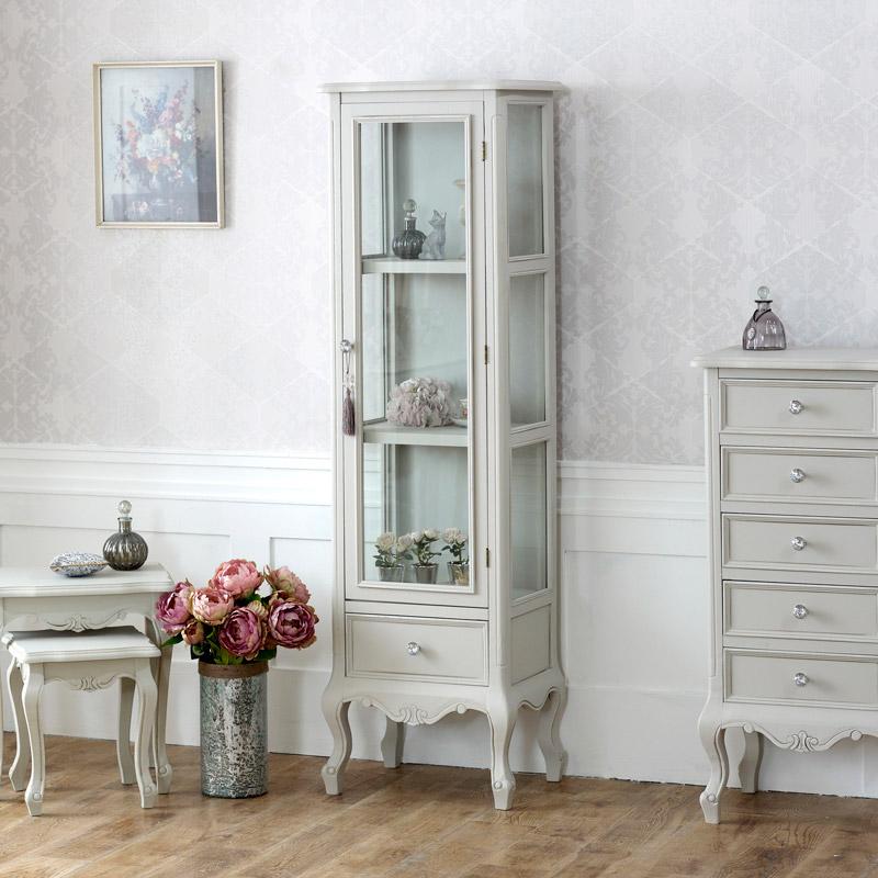 grey wooden ornate glazed display cabinet shabby french chic bedroom furniture. Black Bedroom Furniture Sets. Home Design Ideas