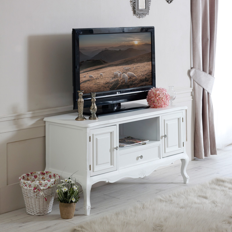 white wood tv media unit cabinet shabby french chic ornate living room furniture ebay. Black Bedroom Furniture Sets. Home Design Ideas