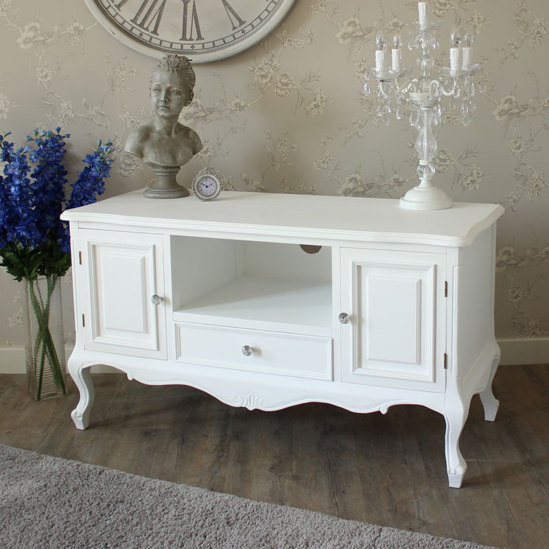 White Wood Tv Media Unit Cabinet Shabby French Chic Ornate Living Room Furniture Ebay