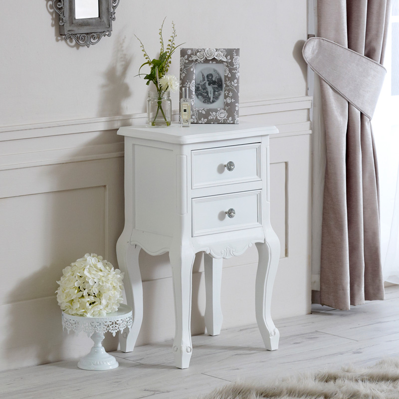 Elise White Range - Two Drawer Bedside Table