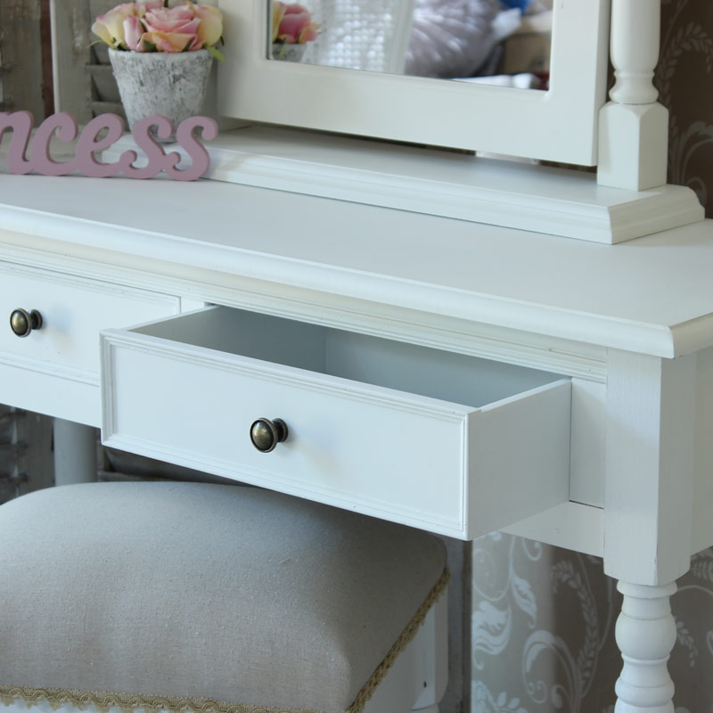 Eliza Dressing Table, Stool and white swing mirror