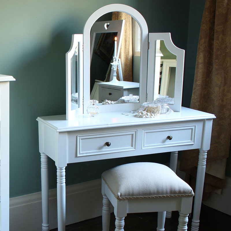 White wooden dressing table mirror shabby french chic