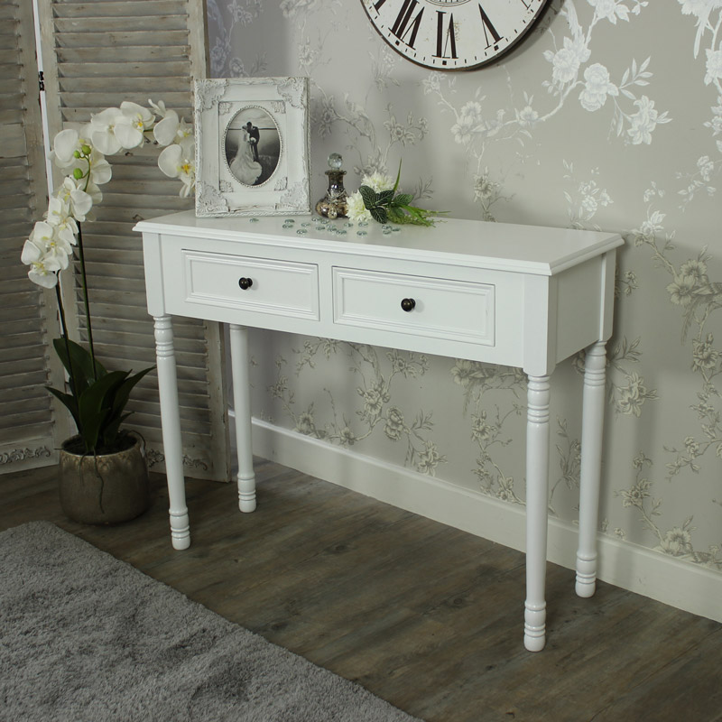 eliza white range two drawer dressing table console. Black Bedroom Furniture Sets. Home Design Ideas