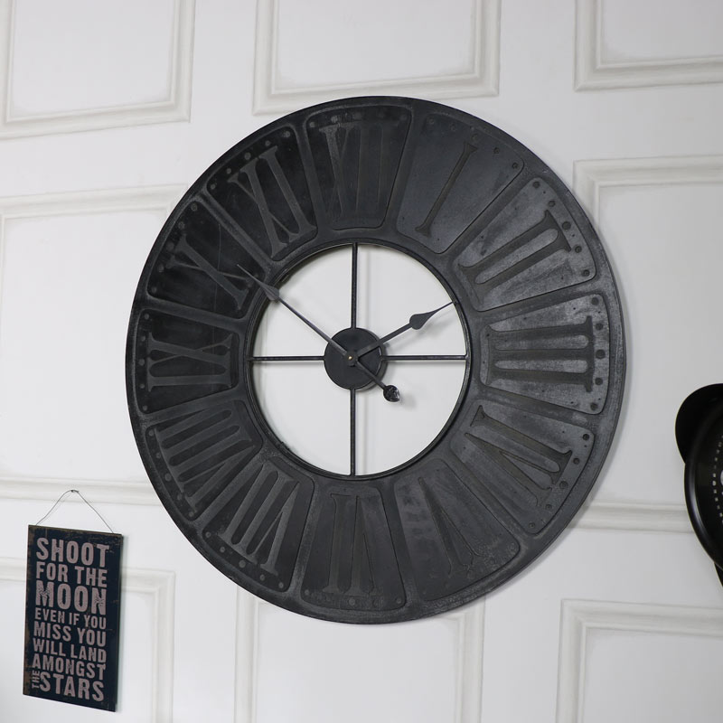 Extra Large Black Wooden Wall Clock Melody Maison 174