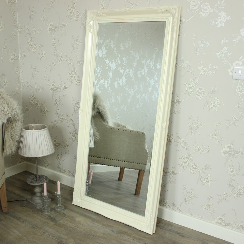 Extra large cream wall floor ornate mirror bedroom hall for Large mirror for bedroom wall