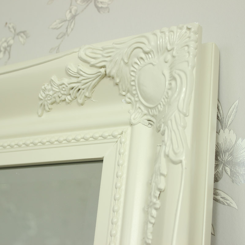 Extra large cream wall floor ornate mirror bedroom hall for Big bedroom wall mirror