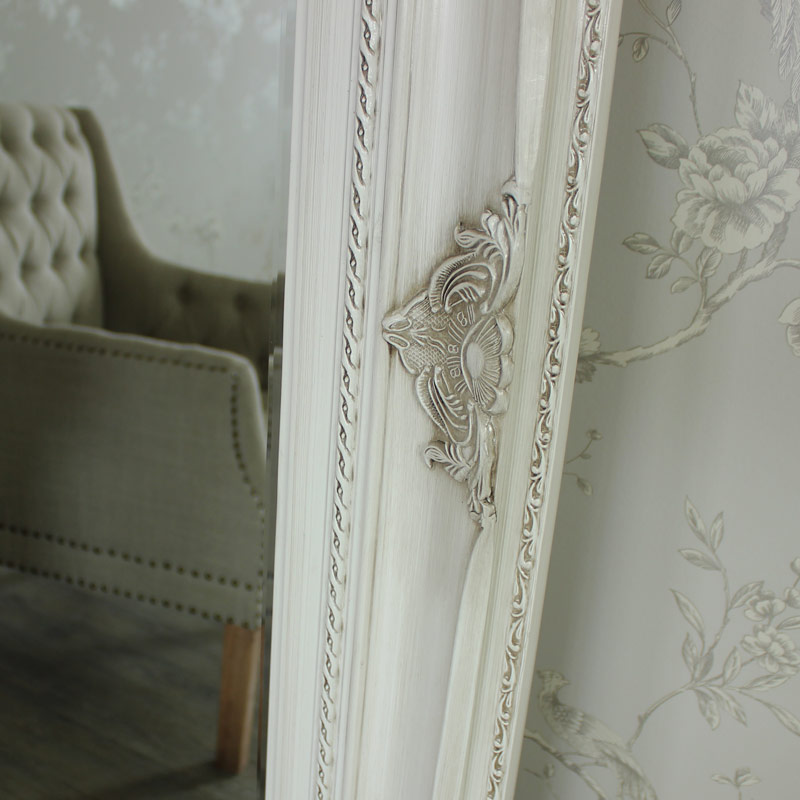 Extra Large Ornate Aged Cream Wall/Floor Mirror